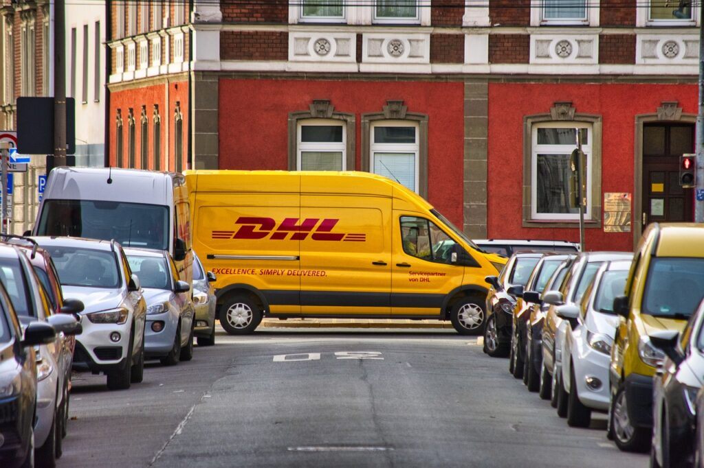 dhl, delivery, cars